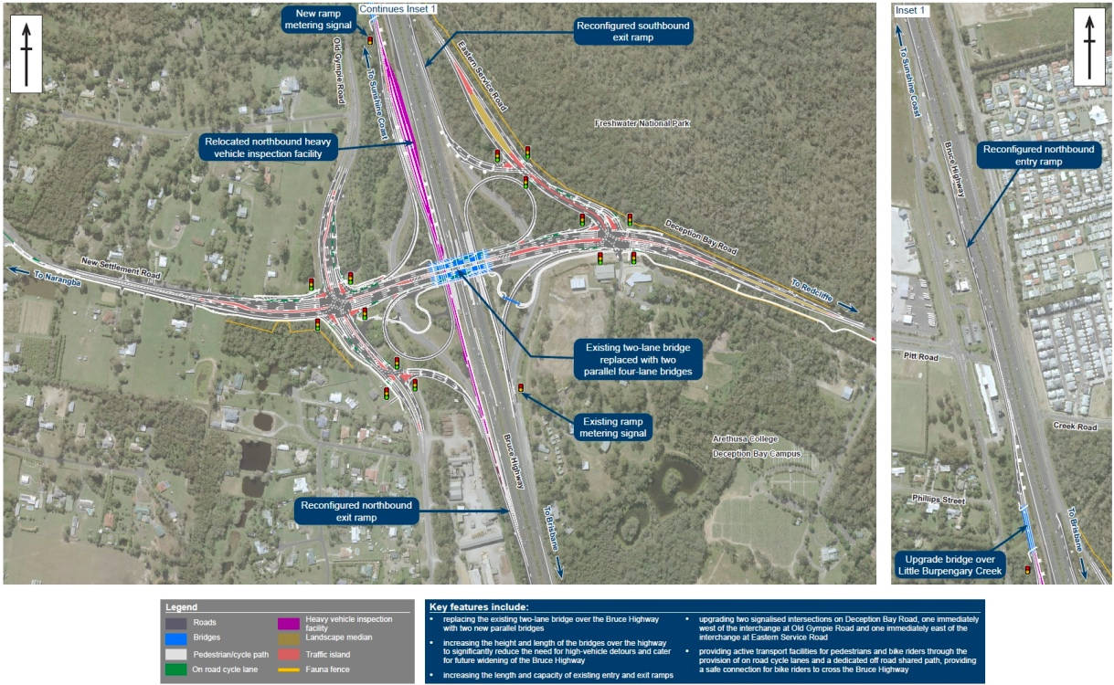 Bruce Highway Upgrade Deception Bay Road Interchange map 1