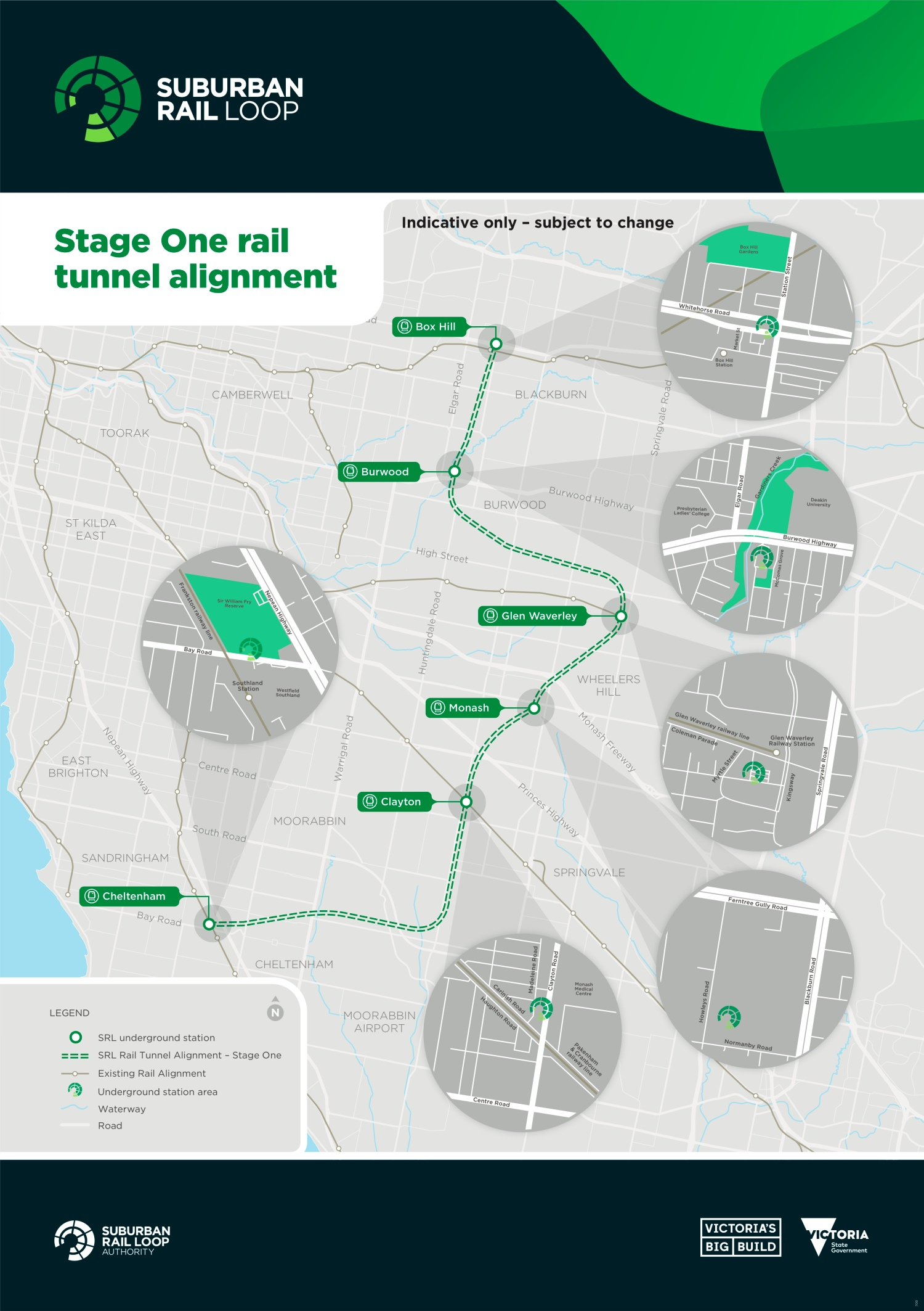 SRL Stage One rail tunnel alignment and proposed underground stations