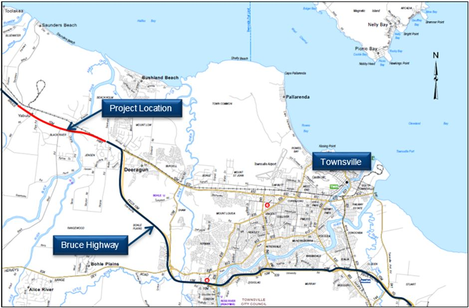 Townsville Northern Access Intersections Upgrade project map