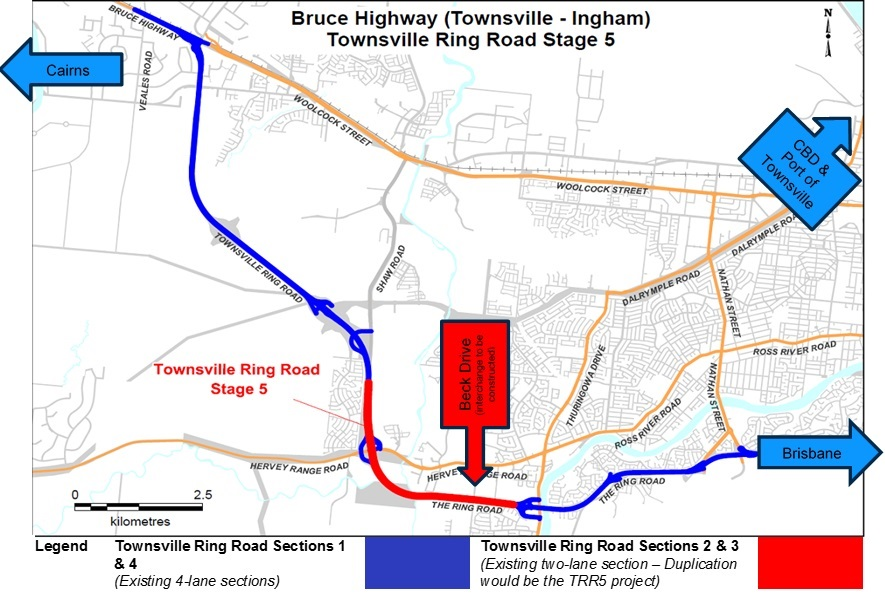 Townsville Ring Road location map