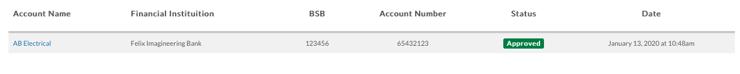 felix banking details validation