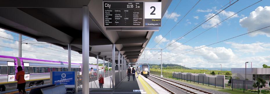 East Pakenham Station platform (cr: Level Crossing Removal Project)