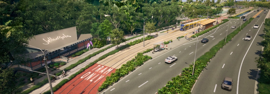Gold Coast Light Rail Stage 4 (cr: Queensland Government)