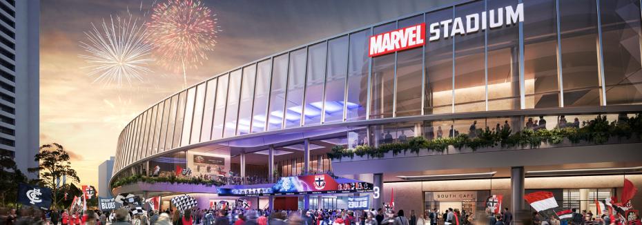 Stadium facade (cr: Marvel Stadium)
