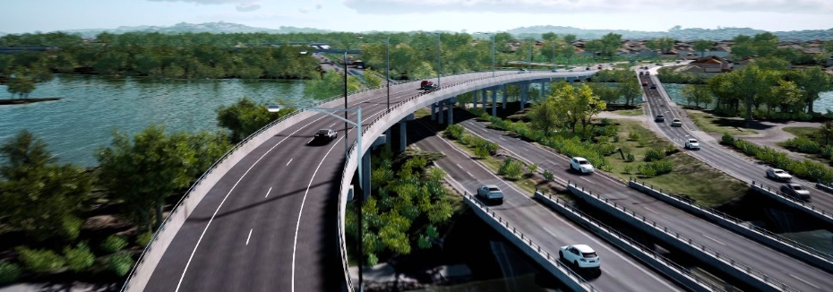 Artist impression of the Mooloolah River Interchange upgrade (cr: Department of Transport and Main Roads)