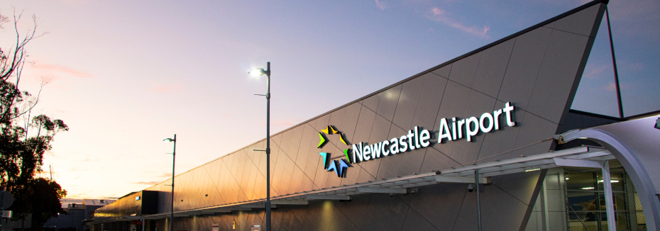 Front of airport (cr: Newcastle Airport)