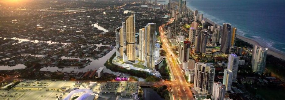 Aerial view of The Star Gold Coast (cr: The Star Entertainment Group)
